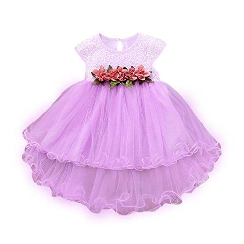 squarex Für 0–2 Jahre Babykleidung, Mädchen Sommer Blumen Kleid Prinzessin Party Hochzeit Tüllkleider (18–24 Monate, lila)