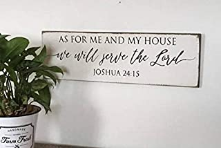 As for Me and My House We Will Serve The Lord Modern Farmhouse Stylevintage Wood Sign Rustic Wooden Signs Wood Block Plaque Wall Decor Art Home Decoration - 6x20 inch
