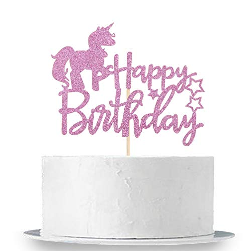 INNORU Unicorn Happy Birthday Cake Topper - Pink Glitter Cake Topper Birthday Party Decoration Supplies
