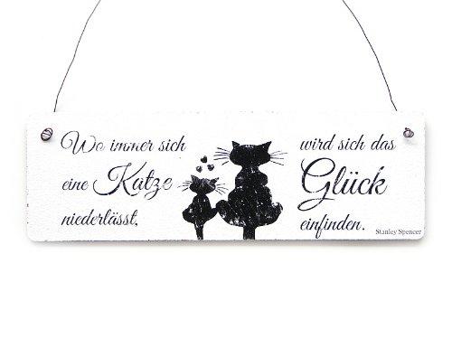 Interluxe Shabby Vintage Schild Dekoschild Türschild WO Immer Sich EINE Katze NIEDERLÄSST