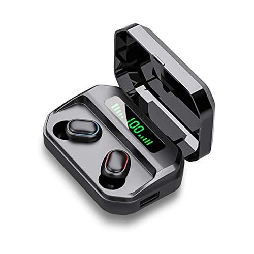 XTZJ Auriculares inalámbricos, auriculares Bluetooth 5.0 180 horas Auriculares de tiempo de juego con estuche de carga, en auriculares para la oreja IP7 Auriculares a prueba de agua Micrófono de cance