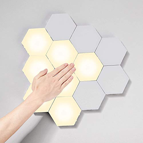 Hexagon LED Wall Lights, Touch Control Gaming Lights, DIY Creative Geometry Led Lights Panel with AC adapter for Gaming Setup & Home Office Hotel Bar Decoration,Gifts(Warm White)
