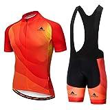 Uriah Men's Cycling Jersey Bib Shorts Sets Short Sleeve Reflective Orange Red Size L(CN)