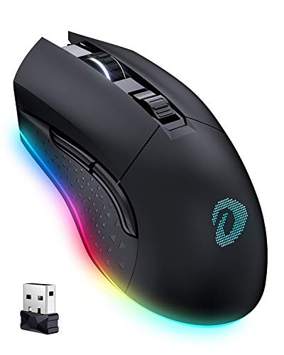 DAREU Wireless Gaming Mouse with 7 Programmable Buttons, Rechargeable RGB Gaming Mice [10000DPI] [150IPS] [1000Hz Polling Rate], Type C RGB Wired Mouse Gaming for PC and Notebook (Black)