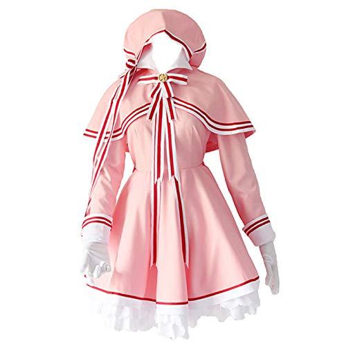 Charous Anime Card Captor Sakura Clear Card Cosplay Kostüm, süße Kleider für Halloween Weihnachten Karneval Themenparty Cosplay Kinomoto Sakura