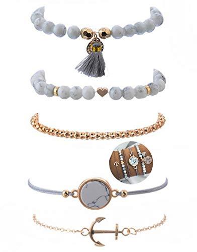 5 teiliges Armband Set | Bohemian Indi Style | Verstellbar | Gold Weiß Grau Rose | Modeschmuck Glitzer Herz Welt Armreif Frau Mädchen Love Marmor Liebe Anker