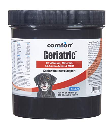 COMFORT Kala Health Geriatric Supplement for Dogs, 350 Count, Contains MSM, Superoxide Dismutase, Ester-C, 19 Vitamins and Minerals & 18 Amino Acids, Made in The USA