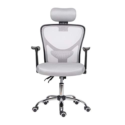 Reclining Home Office Chair with Arms,High Back Ergonomic Desk Chair with Adjustable Headrest Computer Chair with Back Support Executive Swivel Home Work Chair, (Gray)