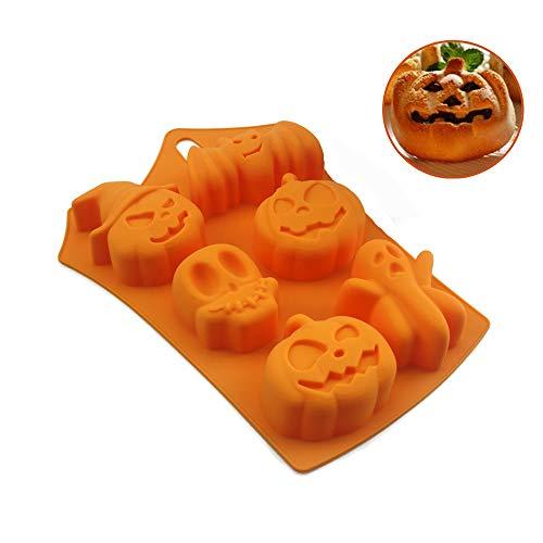 Afocuz Silikon-Backformen – Antihaft-Kuchenformen – Muffin-Backform mit Halloween-Kürbis, Bösem Totenkopf, Geist – perfekt für Pudding, Eiswürfel, Schokolade, Cupcakes (rechteckig)