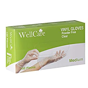 Disposable Vinyl Gloves, Clear, Powder Free, 4mil Thick Disposable Gloves (Medium)