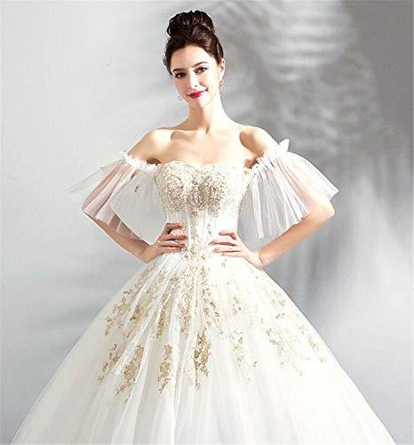 LYJFSZ-7 Hochzeitskleid,Prinzessin Style A Word Schulterfreies Brautkleid, Perle Glitzer Bestickte Accessoires, Weißes Abendkleid