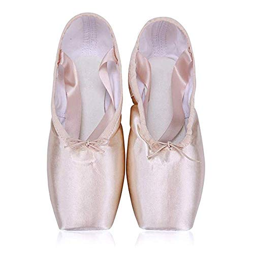BININBOX Girl's Canvas Ballet Dance Toe Shoes Professional Satin Pointe Shoes(13 M US Little Kid,Pink)