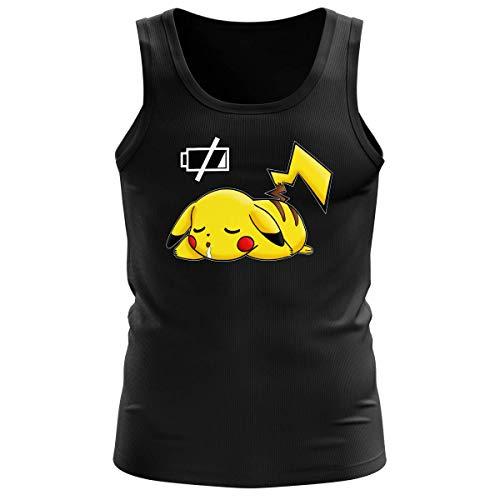 Okiwoki Débardeur Homme Noir Parodie Pokémon - Pikachu - Batterie à Plat ! (Débardeur de qualité Premium de Taille M - imprimé en France)
