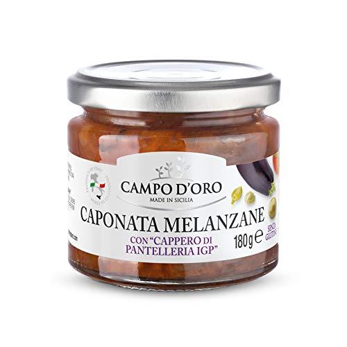 CAMPO D'ORO | CAPONATA DI MELANZANE 180 Gr. 100 % Made in Italy. Ricetta siciliana per antipasto, contorno o piatto unico con Melanzane, Pomodoro, Cipolla, Sedano, Olive e Capperi.