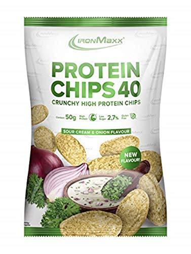IronMaxx Protein Chips 40 - Sour Cream & Onion Geschmack - 1x 50g - High Protein, Low Carb, glutenfrei, fettarm und zuckerreduziert - 20g Protein pro Tüte - Designed in Germany