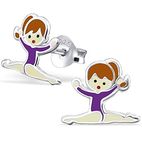 JAYARE Kinder-Ohrstecker Ballerina 925 Sterling Silber Emaille 10 x 8 mm lila violett Ohrringe