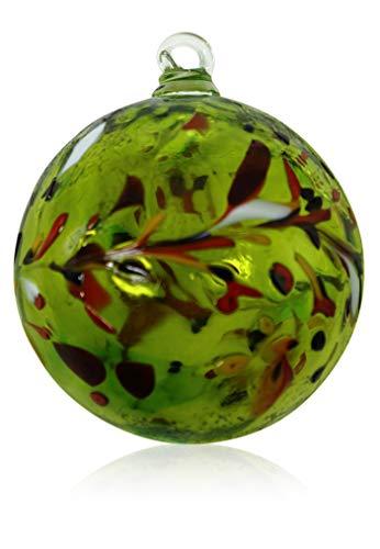 Lauschaer Glas Dekorationskugel aus Glas mit Granulat zitronengelb verschiedene Größen mundgeblasen handgeformt Glaskugel (13cm)