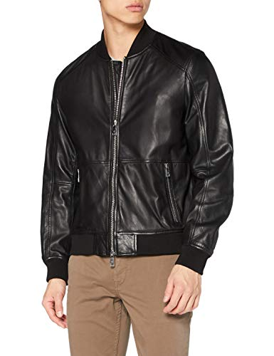 Armani Exchange Mens Blouson Leather Jacket, Black, M
