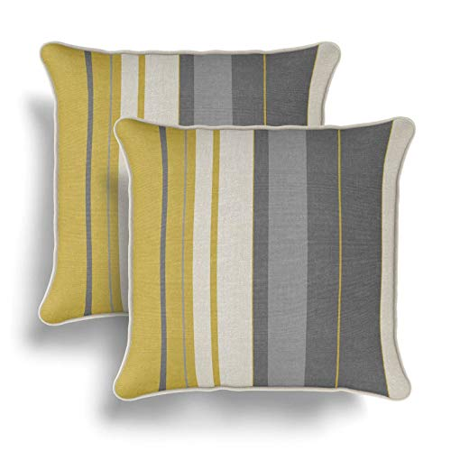 IT IDEAL TEXTILES Set of 2 Ochre Striped Cushion Covers, Pair of Mustard Grey Stripe Design Cotton Cushion Covers, Piped Trim Cushion Cases, Sofa Chair Throw Pillow Cases, 17' x 17', 43cm x 43cm