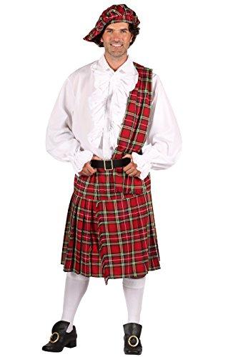 Schotten-Kostüm in rot | Schotten-Rock 3 tlg. für Herren (S)