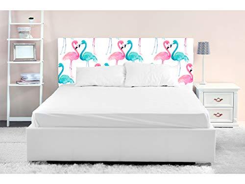 Oedim – Testiera per letto in PVC con stampa digitale, motivo fenicotteri blu e rosa, 115 x 60 cm, disponibile in diverse misure, leggera, elegante, resistente ed economica