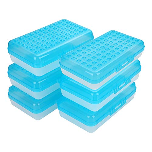 BTSKY 6 Pack Multipurpose Utility Box- Large Capacity Pencil Box with Lid Snap Closure Candy Color Pencil Holder for Organize and Carry Pencils Watercolor Pens Blue