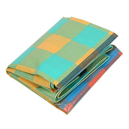 IDWOI Cinta de color PE película de plástico de doble cara impermeable protector solar lona 260 G/M2 antienvejecimiento toldo plegable, Cuadrícula verde amarilla, 3x3m