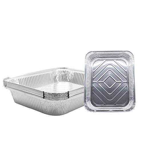"""(10 Pack) 9 x 13 Aluminum Foil Pans - Disposable Steam Table Grill Drip Deep Trays, Meal Cooking, Baking, Roasting, Broiling, Heating Buffet Trays Tin Pans. Half Size- 12 1/2"""" x 10 1/4"""" x 2 1/2"""" inch"""