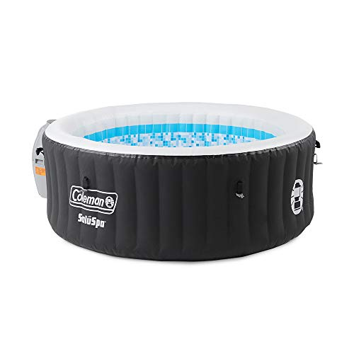 Coleman 13804-BW SaluSpa 4 Person Portable Inflatable Outdoor Round Hot Tub Spa with 60 Air Jets, Tub Cover, Pump, Chemical Floater, and 2 Filter Cartridges, Black Colorado
