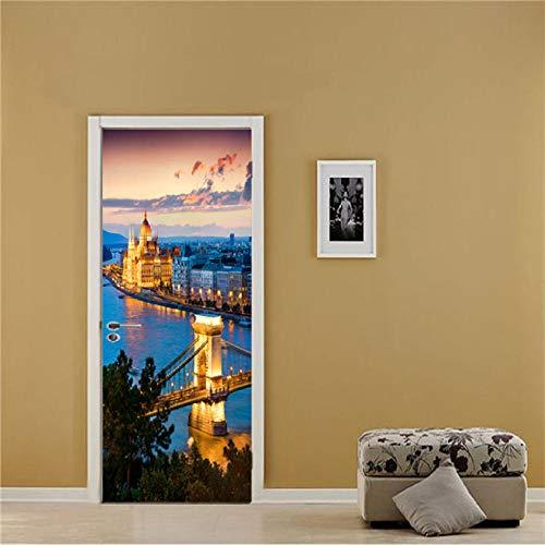 XLXYD Deursticker, afbeeldingen, creatieve abstracte hal, deurposter, binnendeur, zelfklevend, deurfolie, 3D-decoratie, deursticker, deurfoto, deurbehang, patroonbehang, groen, gras en trap, 77 x 200 cm A8.