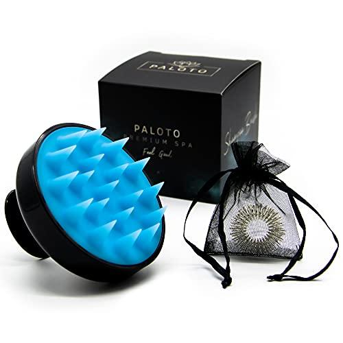 PALOTO® [ORIGINAL] Premium Shampoo Haarbürste - Silikon Kopfmassage Bürste für manuelle Wellness Kopfhaut Massage - GRATIS Finger Massage Ring - Stimuliert das Haar Wachstum, wirkt gegen Schuppen
