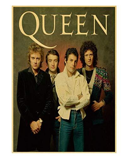 H/F Queen's Band Music Poster Vintage Retro Poster Art Print Pittura Decorazione della Stanza Kraft Paper Wall Sticker Frameless (15,7X 19,6 Pollici) G8590