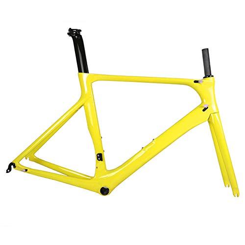 OEM Vollcarbon Rennrad Rahmen Spcycle DI2 und Carbon Rennrad Maschinen Rahmenset BB86 50.5/53/56 cm 2 Jahre Garantie,Yellow,56cm