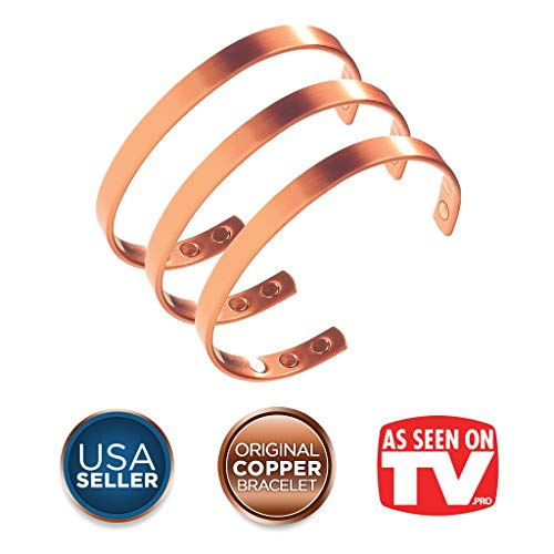 Earth Therapy, The Original Pure Copper Magnetic Healing Minimalist Bracelet Set - Adjustable - for Men and Women - 3 for 2 Best-Sellers Value Pack