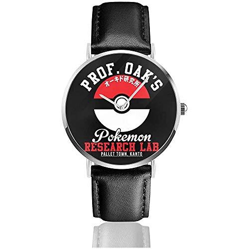 Unisex Prof Oaks Research Lab Monster of The Pocket Watches Reloj de Cuero de Cuarzo con Correa de Cuero Negro