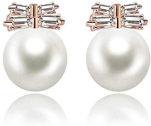 FEE-ZC Hermosos Pendientes de Perlas clásicas para Mujer, Hermosos Pendientes con Incrustaciones de circonita Brillante, Estilo Retro, Elegantes y Encantadoras Joyas geométricas, Regalo románt