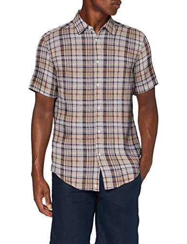 United Colors of Benetton (Z6ERJ) Herren Camicia Hemd, Beige/Brown Check 916, XL