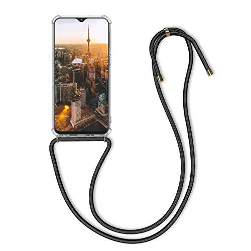 kwmobile Hülle kompatibel mit Samsung Galaxy M20 (2019) - mit Kordel zum Umhängen - Silikon Handy Schutzhülle Transparent Schwarz