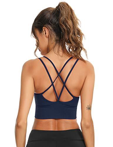 Sykooria Sport BH Damen GepolstertBustier Damen BH ohne Buegel Spaghettiträger Cross Back Design Push up BH Sport Bra Top für Yoga Fitness