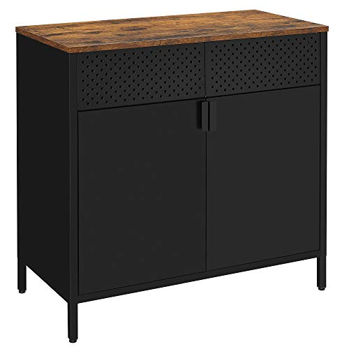 SONGMICS Storage Sideboard, Buffet Table with Adjustable Shelves, Floor Storage Cupboard, Steel Frame, Cabinet for Dining Room, Living Room, Kitchen, Rustic Brown and Black ULSC102B01