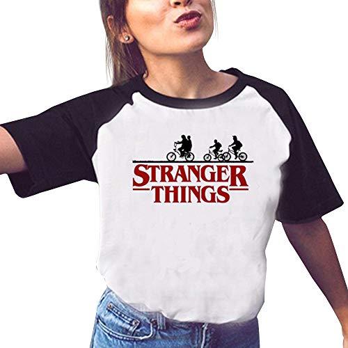 T-Shirt Stranger Things Fille, Tee Shirt Stranger Things Ado Fille Eleven Ringer T-Shirt Enfant Femme Été Manche Courte Shirt Sport Baseball Hauts Tops Chemise Fan de TV Série (24,S)