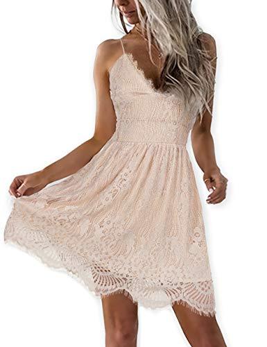 AOOKSMERY Women Summer V-Neck Spaghetti Straps Lace Backless Mini Party Club Beach Dresses (Light Khaki, Small)