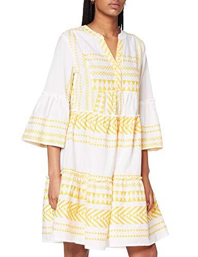 TOM TAILOR Damen Utility Kleid, 25536-white Yellow Large i, 34