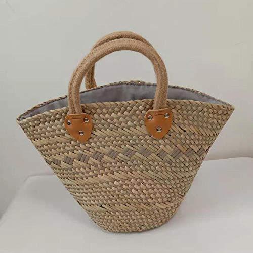 QZYT Stroh Tasche Gewebter Strohsack Handgemachtes Wasser Gras Stroh Handtasche Korb Strohkorb Einkaufstasche-Grey_25 * 43 * 15Cm