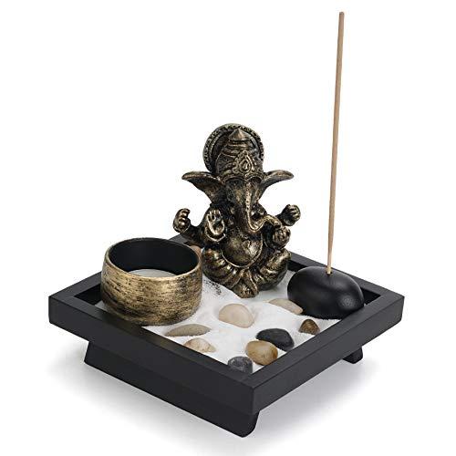 YINASI Mini Ganesha Statue Buddha Elephant God, Hindu Ganesha Meditation Buddha Figurine Garden Table Decor Decor with Wood Tray Candle and Buddhist Incense Holder, Natural River Rocks Sand, 4.7IN
