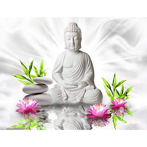 Fototapete Buddha Blumen Wand Tapete Wohnzimmer Schlafzimmer Büro Flur Dekoration Wandbilder Moderne Wanddeko,200cmX140cm(78.7 by 55.1 in)