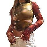 Womens Long Sleeve Y2k T Shirt Vintage Crop Top Sexy See Through Color Block Patchwork E-Girl Harajuku Flared Lace Hem Tops (D#Orange, Medium)