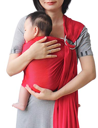 Vlokup Baby Water Ring Sling Carrier | Lightweight Breathable Mesh Baby Wrap for Infant, Newborn, Kids and Toddlers | Perfect for Summer, Swimming, Pool, Beach | Great for Dad Too Red