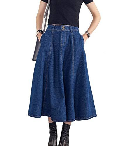 Damen Vintage Jeansrock Mit Knopfleiste Denim Rock A Linie Rock Falten Röcke Tellerrock Lang Einreihig Mode Elegant Loose Einfach Casual Röcke (Color : Blau, Size : L)
