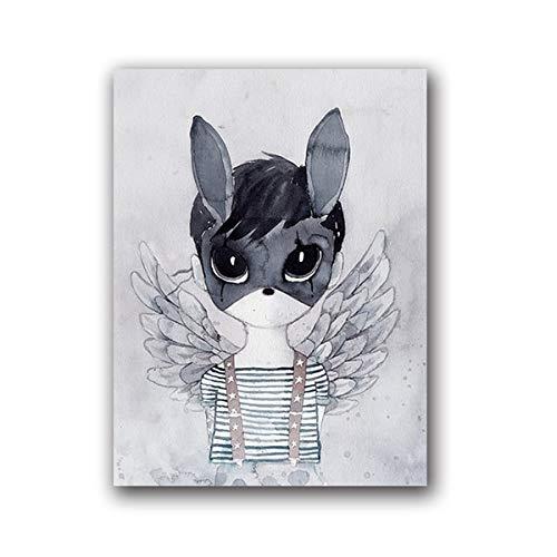 Geiqianjiumai Noordse bos sprookje cartoon konijn jongen canvas aquarel schilderij dier print poster muur foto decoratie frameloze schilderij